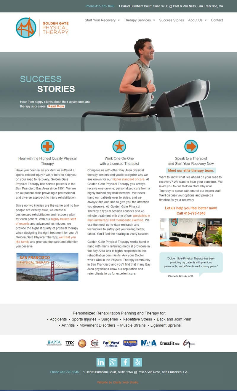 physical therapy website after redesign