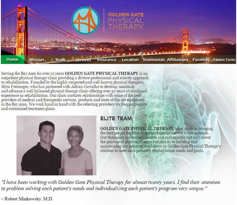 Golden Gate Physical Therapy website before redesign